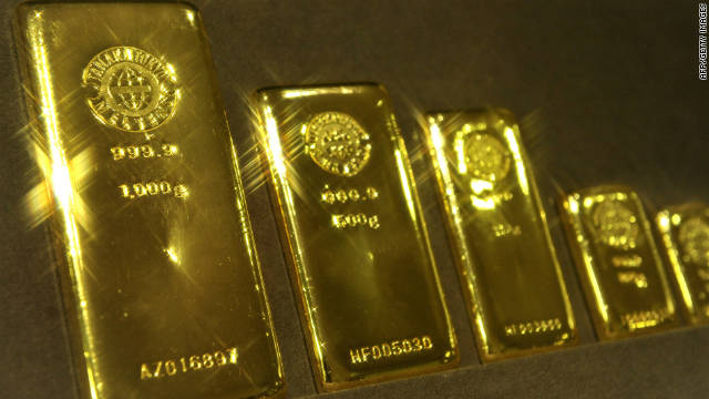 Gold bars on display in a shop in Tokyo, Japan