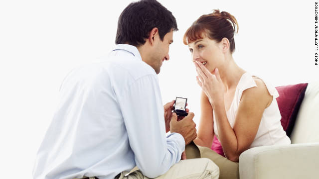 A man traditionally offers an engagement ring along with his love when asking a woman to marry him.