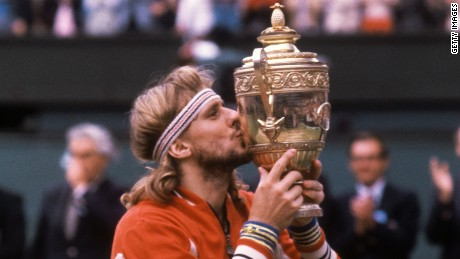 Borg with the Wimbledon trophy in 1980.