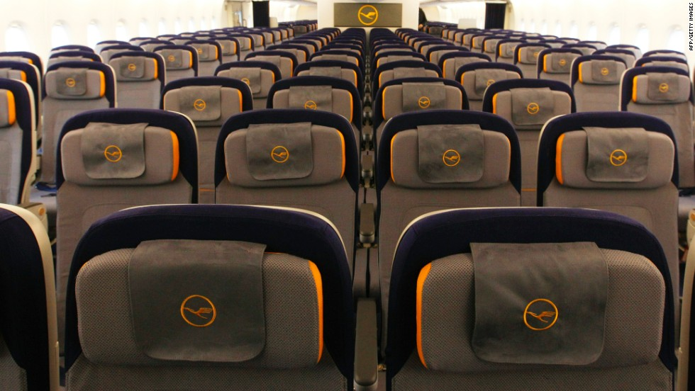 Like many other airlines, Lufthansa's Airbus A380 economy-class formation has 10 seats per row. The plane's manufacturer says that next week it will unveil a more neighborly 11-seat-row economy-class configuration.