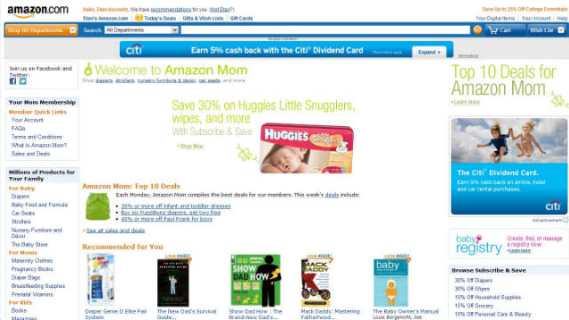 Amazon has a free but unfortunately named Amazon Mom club that offers great discounts.