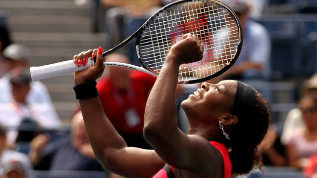 Serena Williams celebrates her victory over Anastasia  Pavlyuchenkova.