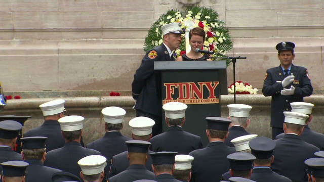 Singer's emotional salute to FDNY dad