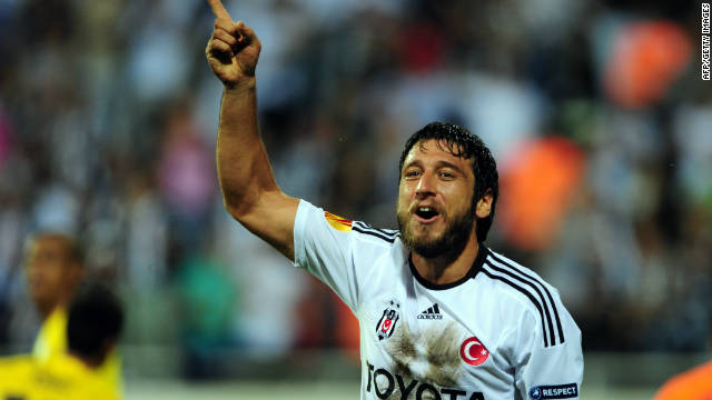 Egemen Korkmaz celebrates scoring for Besiktas against Maccabi Tel Aviv during Thursday's Europa League clash.