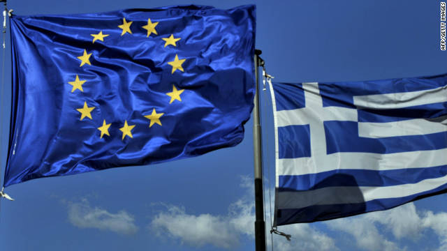 File photo of the European Union and Greek flags.