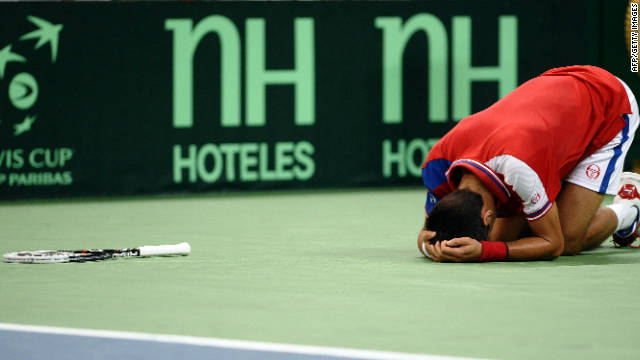 Novak Djokovic collapses in a heap before retiring injured in his Davis Cup rubber against Juan Martin Del Potro