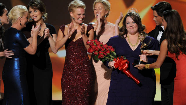 When Melissa McCarthy won the Emmy she also walked away with a bouquet of roses and a tiara as a bonus.