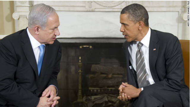 "US President Barack Obama (R) meets with Israeli Prime Minister Benjamin Netanyahu in the Oval Office of the White House in Washington, DC, May 20, 2011. Obama announced on Thursday in his long-awaited speech on the ""Arab Spring"" revolts that territorial lines in place before the 1967 Arab-Israeli war should be the basis for a peace deal, a move Netanyahu has long opposed. AFP PHOTO / Jim WATSON"