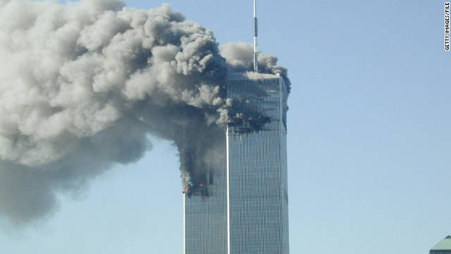 Smoke pours from the World Trade Center after it was hit by two planes on September 11, 2001.