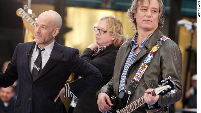 "Michael Stipe, Mike Mills, and Peter Buck of R.E.M. perform on NBC's ""Today"" show  in 2008."
