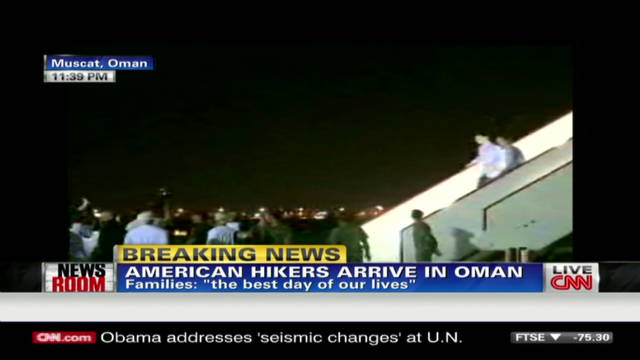 American hikers arrive in Oman