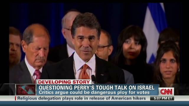 Perry's tough talk on Israel