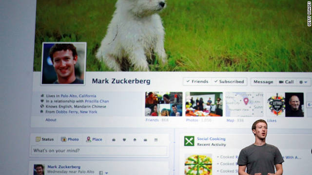 "Mark Zuckerberg unveils a new version of the Facebook profile page called ""Timeline."""