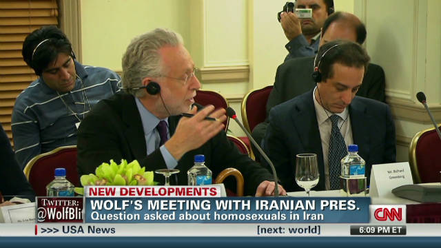Blitzer presses Ahmadinejad on gay stance _00002910