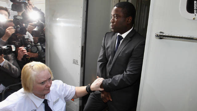 Kweku Adoboli, a trader for the Swiss investment bank UBS, arrives at the City of London Magistrates Court.