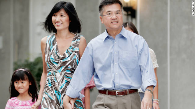 New U.S. Ambassador to China, Gary Locke and his family arrive for a media briefing in the courtyard of his residence on August 14, 2011 in Beijing, China.