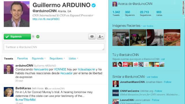 Cuenta de Guillermo Arduino en Twitter