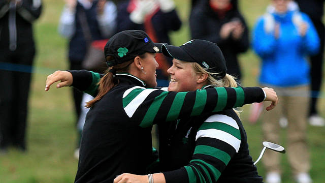 Sophie Gustafson and Caroline Hedwall celebrate their afternoon fourballs victory for Europe