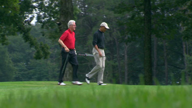 Pres. Obama golfs with Pres. Clinton