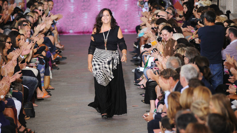 Designer Angela Missoni on the runway after the Missoni show during Milan Womenswear Fashion Week.