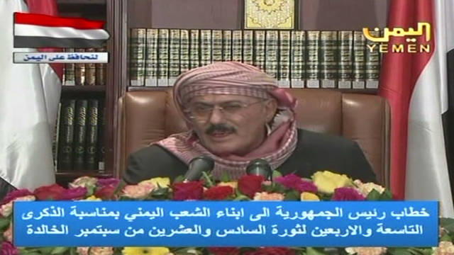 Saleh addresses divided Yemen