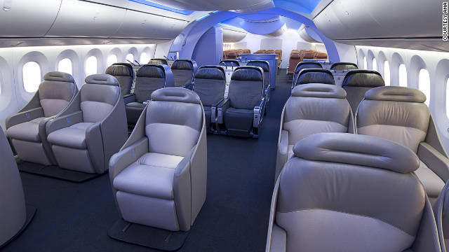 The new Dreamliner 787's LED interior lights can change the mood inside the cabin.