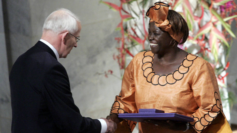 In 2004, she was awarded the Nobel Peace Prize for her efforts to promote sustainable development, democracy and peace.