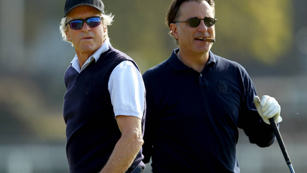 Michael Douglas and Andy Garcia take to world golf's oldest and arguably greatest stage as they practise on the Old Course at St. Andrews, Scotland in preparation for the Alfred Dunhill Links Championships.
