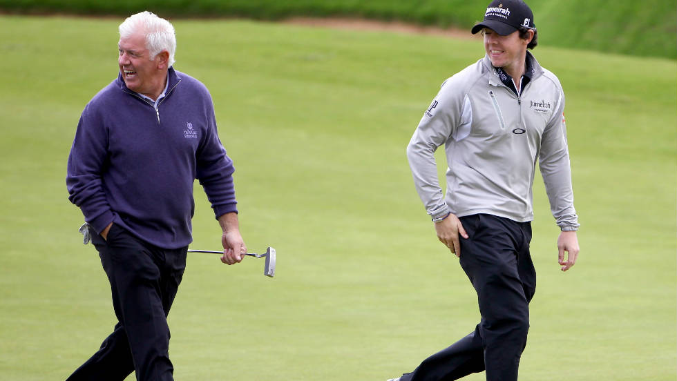 Rory McIlroy will partner his father Gerry (left) in the pro-am team competition which runs alongside the European Tour strokeplay event.