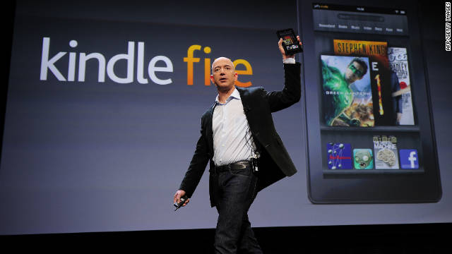 Amazon CEO Jeff Bezos unveils the Kindle Fire tablet at an event September 28 in New York.
