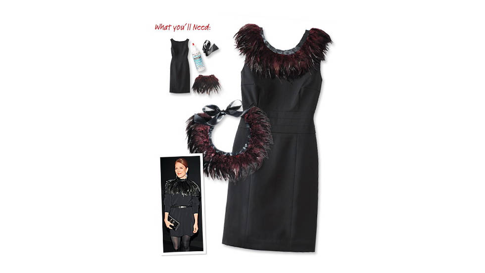 Feather-collared little black dress, inspired by Julianne Moore