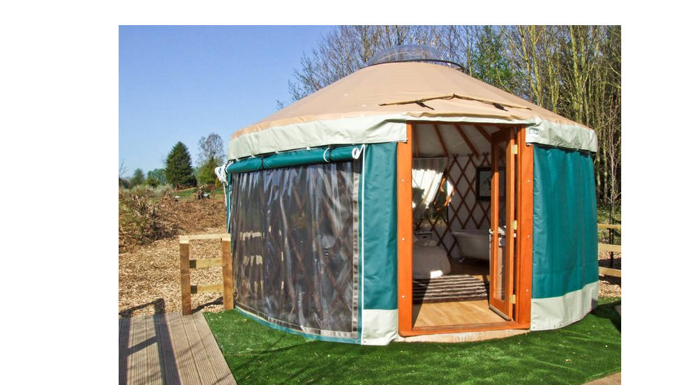 Not every comfortable tent will break the bank. The Lakeside Yurt is a single round tent for rent in England's Cotswolds region.