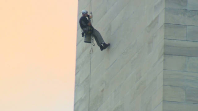 Rappelling down the Washington Monument