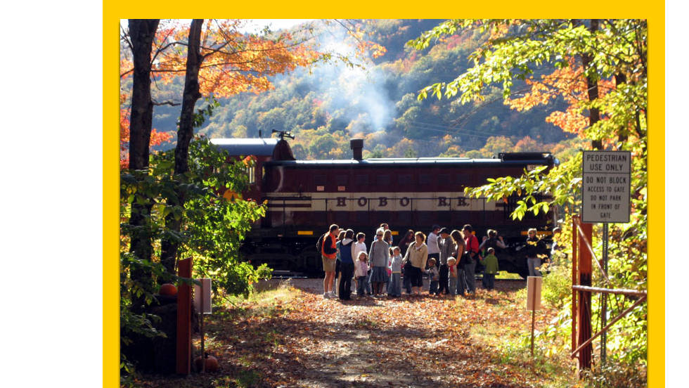 The Hobo Railroad offers daily fall foliage excursions through October 16 from Lincoln, New Hampshire.