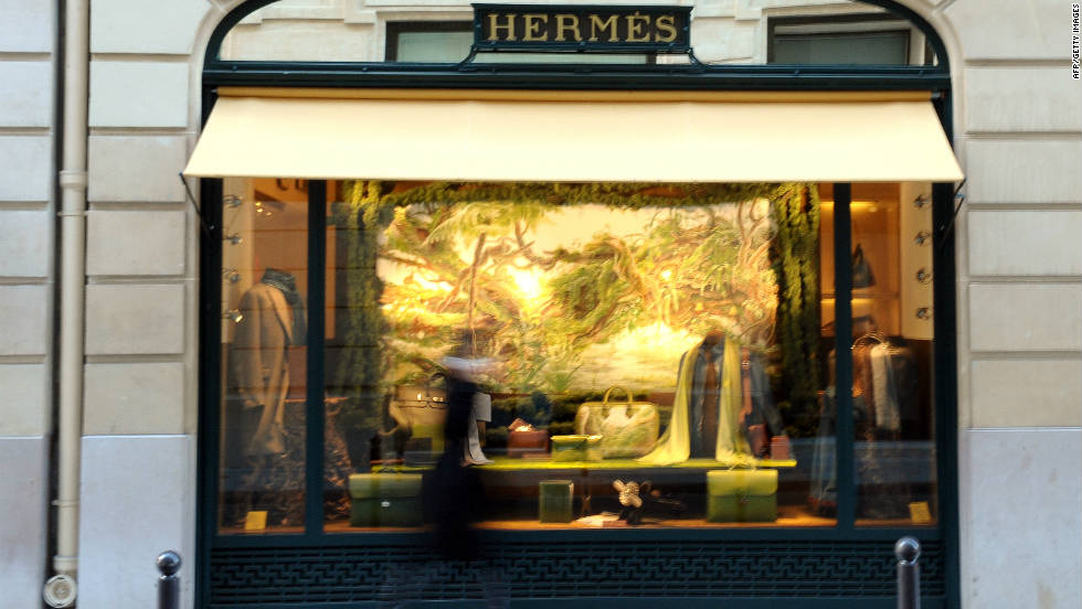 The facade of French luxury brand Hermes' store in the upmarket Left Bank district of Paris.