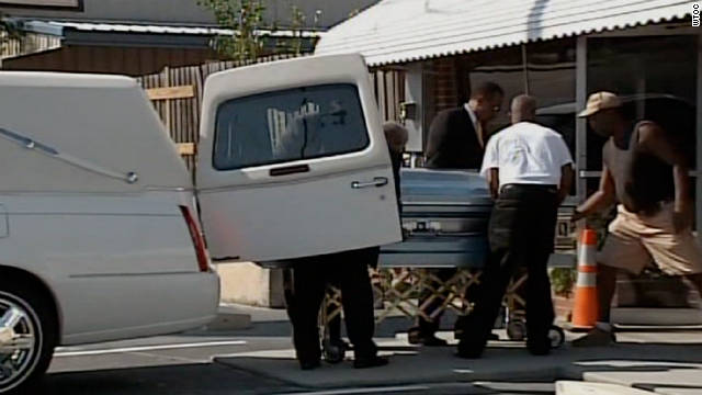 Troy Davis' casket is removed from a hearse on Friday, September 30.