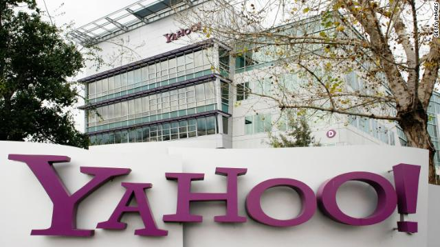 The current Yahoo logo sits on a sign outside its campus in Sunnyvale, California.