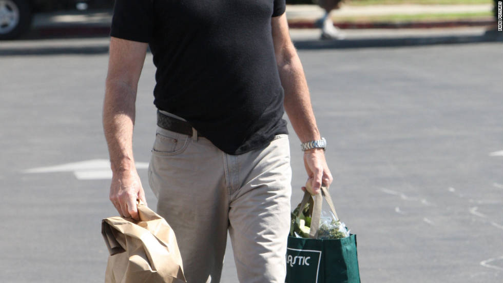 Pierce Brosnan leaves a farmers' market in Malibu, California.