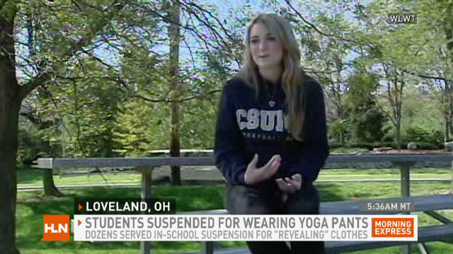 School's yoga pants postion: No Shanti