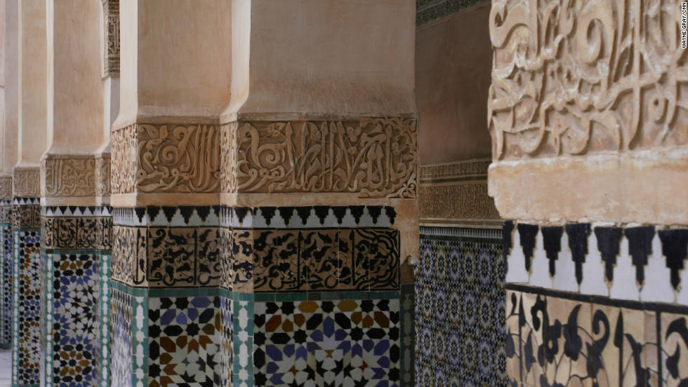 Everywhere you go in Marrakech, you find yourself paying close attention to the architectural details of its buildings, like the tile and stucco carvings in the courtyard pillars of the Ben Youssef Medersa.