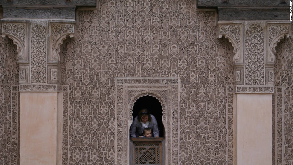Elaborately carved stucco covers the main courtyard at the Ben Youssef Medersa. For hundreds of years, young men studied the Quran behind those walls.