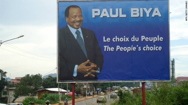 An election sign showing current Cameroon President Paul Biya on display in Yaounde