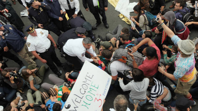 "Police ticketed more than 700 ""Occupy Wall Street"" demonstrators crossing the Brooklyn Bridge on Saturday in New York."