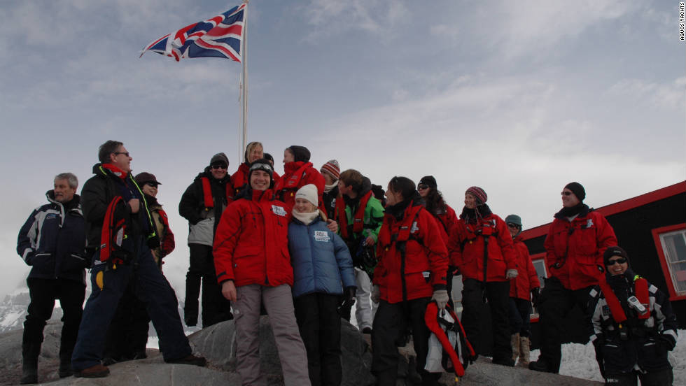 """Big Fish"" guests and crew visit the historic British research base at Port Lockroy on the Antarctic Peninsula."