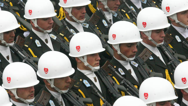 Turkish soldiers march during celebrations marking the 87th anniversary of Republic Day in Ankara on October 29, 2010