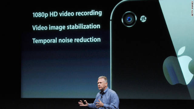 Apple's SVP of worldwide product marketing, Phil Schiller, talks about the iPhone 4S on Tuesday.