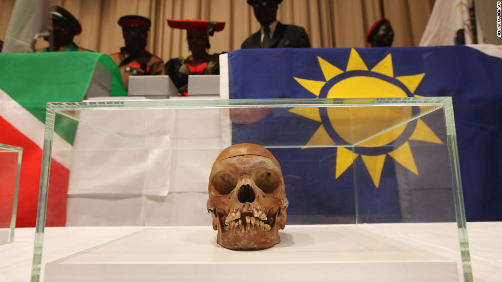 The skulls were taken during the bloody 1904-1908 colonial conflict in former German West-South Africa and found at Berlin's Charite University Hospital in 2005.
