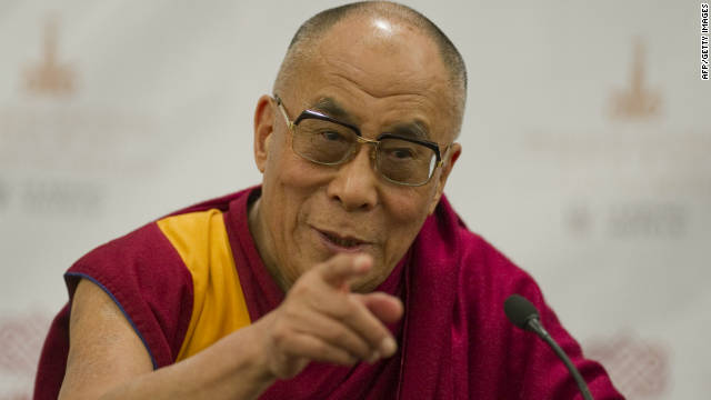 Tibetan spiritual leader, the Dalai Lama, speaks during a news conference in Mexico City on September 9, 2011.