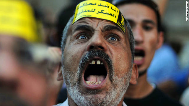 An Egyptian man shouts slogans during a protest against the expansion of emergency law in Cairo on September 19.