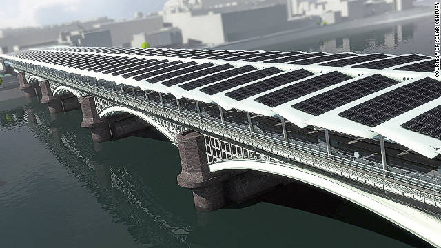 A CGI image of how the new solar panels will look on the roof of the new Blackfriars rail station in London